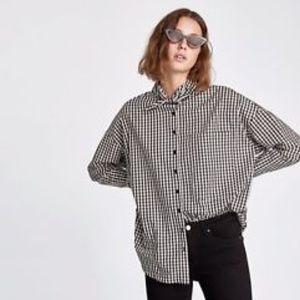 Zara checkered oversized shirt tie collar